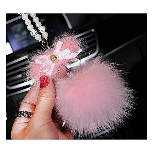 LuckySHD Cute Car Hanging Pendant Fur Ball Car Rear View Mirror Ornament - Pink]()