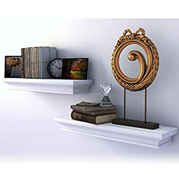 Traditional Small Wall Shelf Ledge Crown Molding Design White Set of 2 , Buyer Receives 2 Shelves