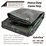 Heavy Duty Waterproof Camo Tarp - Reversible Camouflage / Green vinyl Tarp -12x20 with UV protection for outdoor camping RV Truck and trailers