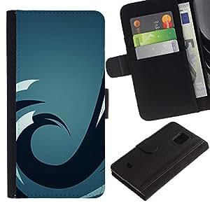 LECELL--Cuero de la tarjeta la carpeta del tirón Smartphone Slots Protección Holder For Samsung Galaxy S5 Mini, SM-G800 -- Ola azul --