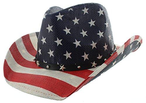Milani Vintage Stars & Stripes American Flag Cowboy Hat - Unisex White