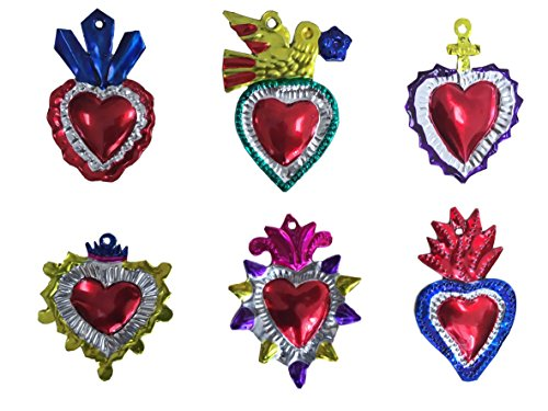 Milagros Charms - Tin Painted Sacred Heart Ornaments - Mexican Art (Set of 6) - Multicolor by Casa Fiesta Designs