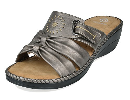 (DREAM PAIRS Women's Truesoft_08 Pewter Low Platform Wedges Slides Sandals Size 8.5 B(M) US)