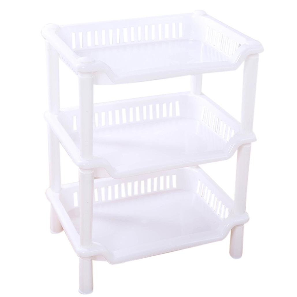 Naladoo 3 Tier Plastic Corner Organizer Bathroom Caddy Shelf Kitchen Storage Rack Holder (A, White) Kitchen Gadgets