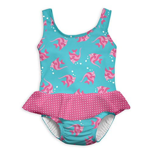 i play. Baby Girls 1pc Skirty Swimsuit with Built-in Reusable Swim Diaper, Aqua Angelfish, 18mo -
