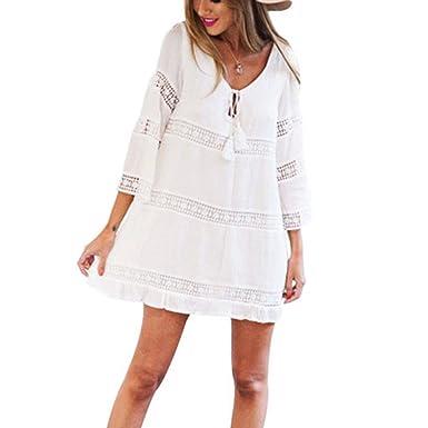 cd848eedfc059 Womens Summer Beach Lace Boho Dress Three Quarter Sleeve Hollow Mini Dress:  Amazon.co.uk: Clothing