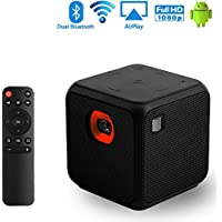 Mobile Pico Video Projector Portable Mini Pocket Size for iPhone and Android,Dual Band WiFi Home Theater Cinema Projector with1080P USB Bluetooth(Black)