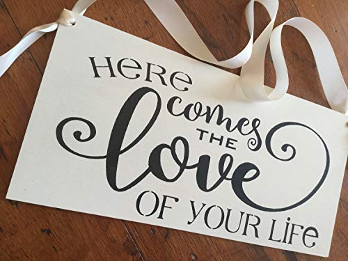 MosesMat41 Ivory Ring Bearer Sign Here Comes The Love of Your Life Here Comes The Bride Alternative Black and White Formal Weddings Kerri Art