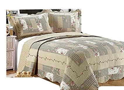 ALL FOR YOU 2 Piece Reversible Bedspread Coverlet Quilt Set Beige Pink Burgundy And Gray Green Prints Twin