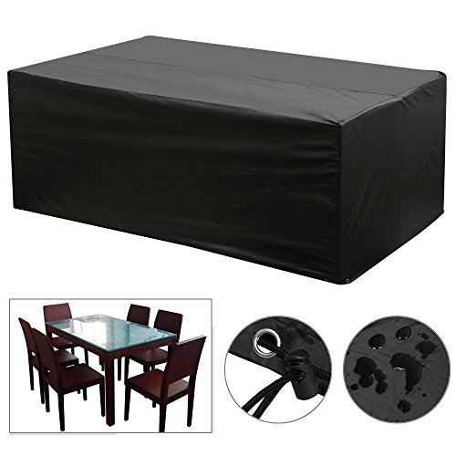 Yaheetech Rectangular Patio Furniture Cover Black Table and Chair Set Cover Waterproof for Outdoor Garden Furniture Care 67'x37'x28'