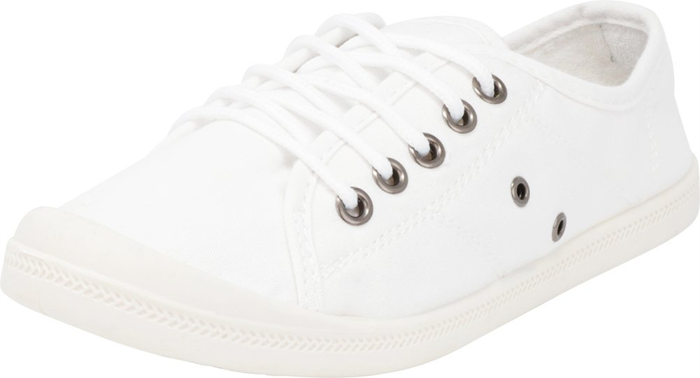 Cambridge Select Women's Classic Low Top Closed Round Toe Lace-up Canvas Casual Fashion Sneaker,10 B(M) US,White