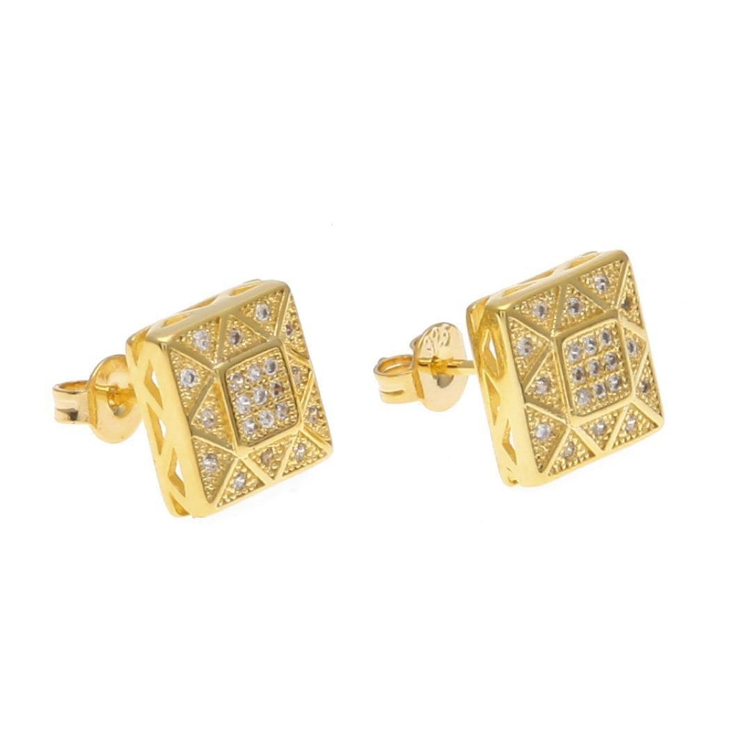 Swyss Hip Hop Square Micro-Inlaid Zircon Earrings Rhinestone Stud Earrings Punk Designs New Men Jewelry (Gold)