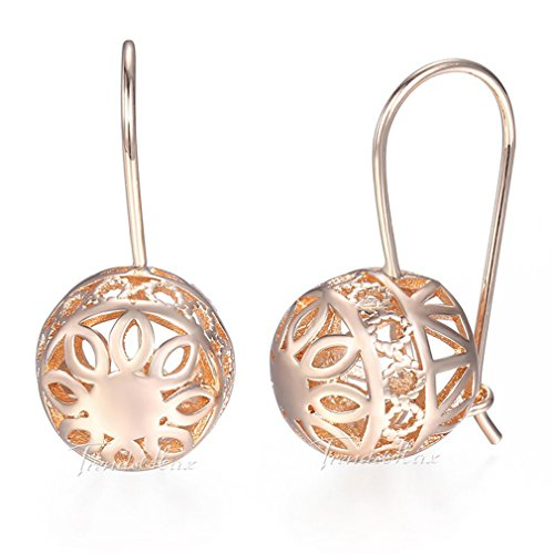 Women Trendy Dangle Earrings 585 Rose Gold Jewelry For Women Girls Round Smooth Ball GE124