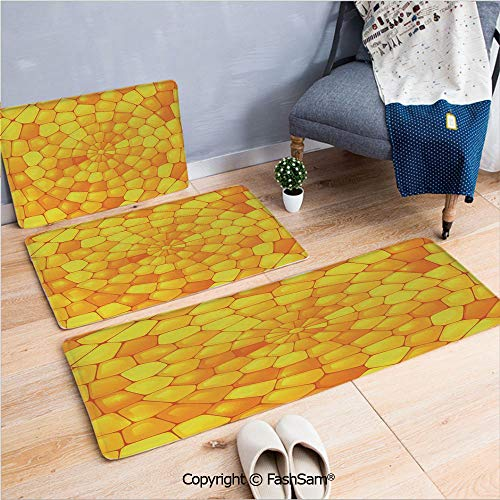 (FashSam 3 Piece Flannel Doormat Abstract Stained Irregular Glass Mosaic Patterns Crystal Light Decor Illustration for Kitchen Rugs Carpet(W15.7xL23.6 by W19.6xL31.5 by W35.4xL62.9))