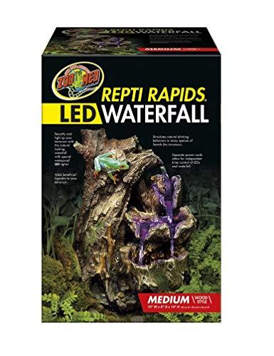Reptile Terrarium Waterfall (Zoo Med 26375 Repti Rapids LED Waterfall Wood Style, Medium)