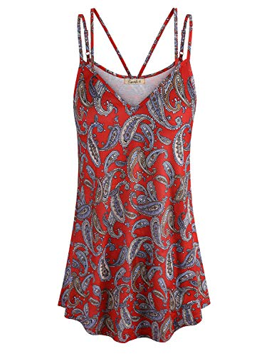 - Cyanstyle Women's Flowy V Neck Double Spaghetti Strap Tank Tops Camisole Shirts (Red, XX-Large)