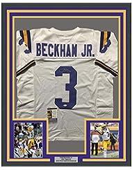 Framed Autographed Signed Odell Beckham Jr. 33x42 LSU White College  Football Jersey JSA COA a1d0313b2