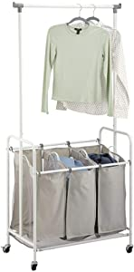 mDesign Portable Laundry Sorter with Wheels and Attached Steel Hanging Bar - 3 Compartment Design, Polyester Fabric - Gray/White