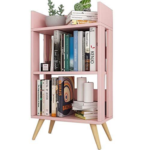 (Jcnfa-Shelves Wooden Bookcase Three-Tier Bookshelf Trapezoidal Cabinet Legs Shelf Floor-Standing, Multiple Colors (Color : Pale Pink, Size : 502490cm))