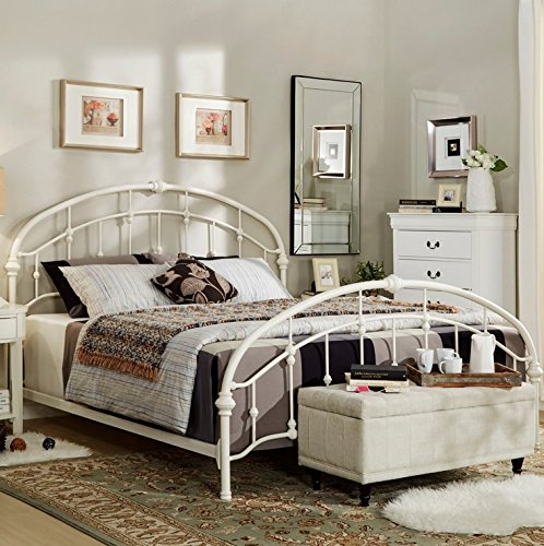 Lacey Round Curved Double Top Arches Victorian Iron Metal Bed (Full, White) Antique White Metal Bed