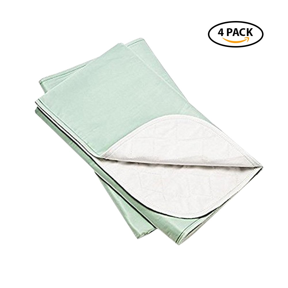 Platinum Care Pads Washable Green Large Standard Reusable Bed Pads/Hospital Underpads, For use with Incontinence and pets size 34x36 in, Pack of 4