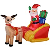 WeRChristmas Pre-Lit Santa Reindeer Sleigh Inflatable With Led Lights And Fan, 180 Cm - Large