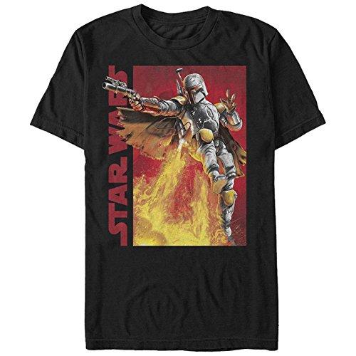 Fett Jet Pack - Star Wars Men's My Backpack's Got Jets Graphic T-Shirt, Black, L