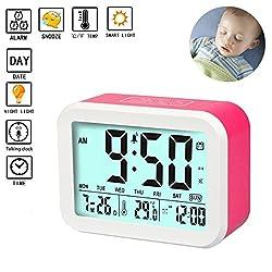 Digital Alarm Clock Talking Alarm Clocks Battery Operated Intelligent Noctilucent & Snooze Function Smart Backlight 4.5'' Display for Adults/KidsHome & Office (Red)