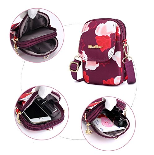 Flower Layers Zipper Purse Crossbody Nylon Pouch Style Wristlet 3 B Babyprice Bag Running red Armband Cellphone Fw5Z5E