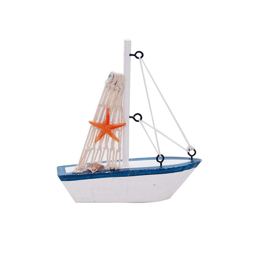 Vosarea Segelboot-Ornament aus Holz mit Anker Fischernetz Muschel Seestern Dekoration Segelboot