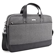 17.3 inch Laptop Shoulder Bag, Evecase Felt and Leather Modern Briefcase Laptop Messenger Bag with Multiple Accessory Pockets( Fits Up to 17.3-inch Macbook, Laptops, Ultrabooks) - Black / Gray