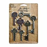Advantus Metal Word Keys by Tim Holtz Idea-ology, 7 Keys Per Pack, Various sizes, Antique Finishes, TH92680