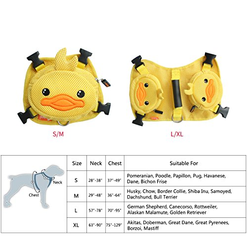 Ondoing Dog Backpack Cut Cartoon Adjustable Detachable Saddle Bag Pack Self Backpack Harness Carrier Deluxe 2 in 1 Saddle Leash Harness for Walking Travelling XL, Yellow