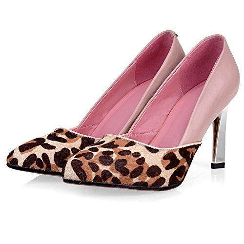 Scarpe Con Tacco Alto Da Donna Con Minigonne Leopardati, Colore Rosa