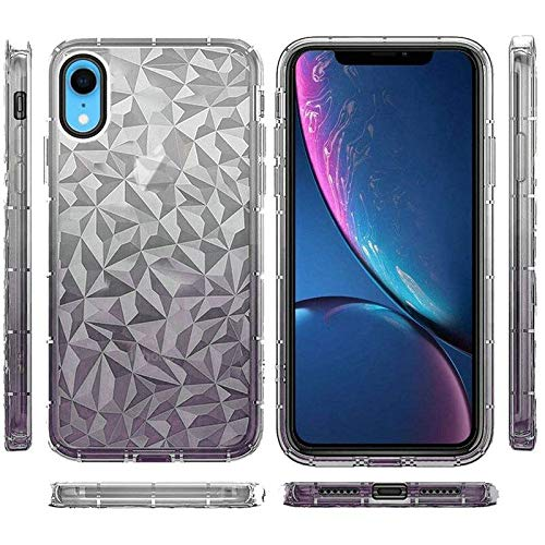 Insten Two Tone Diamond Textured Design PC/TPU Rubber Case Cover Compatible with Apple iPhone XR, Smoke