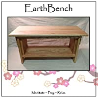 Meditation Bench ~ 14 tall Personal Altar Table by EarthBench: RED OAK (28 by 11 by 14 tall)