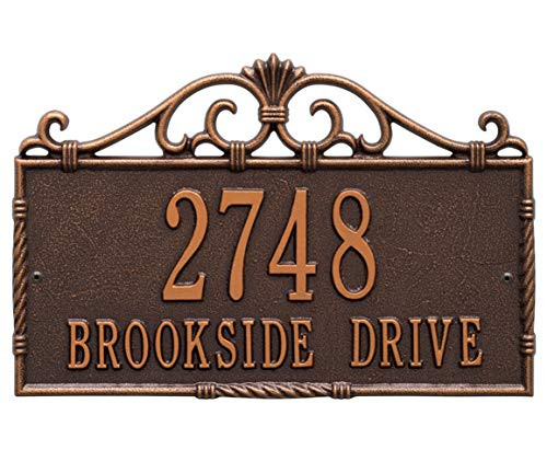 Whitehall Allendale Address Plaque - Standard Wall - Two Line - Antique Copper by Whitehall