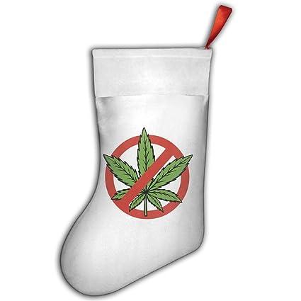 No marihuana Weed calcetín para colgar de Navidad, juego de calcetines para colgar accesorios de