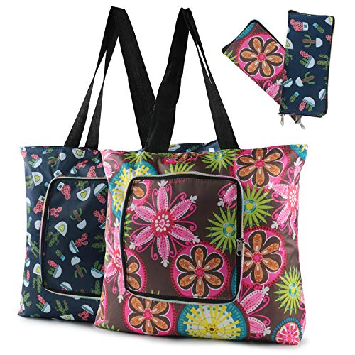s 2 Packs Heavy Duty Market Bags with Sturdy Zipper ECO-Friendly Foldable Cute Grocery Tote Bags for Travel Holiday Washable Durable Reusable Shopping Bags ()