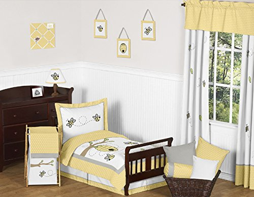 Sweet Jojo Designs Yellow, Gray and White Pillow Sham for Honey Bumble Bee Bedding Collection