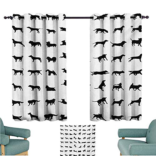 - DONEECKL Windshield Curtain Black and White Different Silhouettes Dogs Various Breeds Corgi Golden Retriever Pitbull Thermal Insulated Tie Up Curtain W72 xL45 Black White