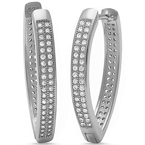 Micro Pave Cz V Shape .925 Sterling Silver Hoop Earring by Oxford Diamond Co