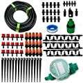 "DIY Garden Irrigation System,50FT 1/4"" Blank Distribution Tubing Watering with Timer Drip Kit 2-Way Nozzle Micro Auto Drip Irrigation System Irrigation Spray for Flower, Lawn, Plants"