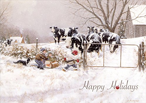 Children & Cows: My Turn - Box of 18 Christmas Cards