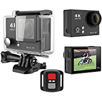 GoldFish H2R 4K Sport Action Video Camera 2.0inch 12MP Waterproof WiFi 2.4G Wrist Remote Black