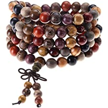 Top Plaza Unisex 108 Natural Wood 6mm 8mm Beads Bracelet Meditation Buddhist Rosary Mala Necklace