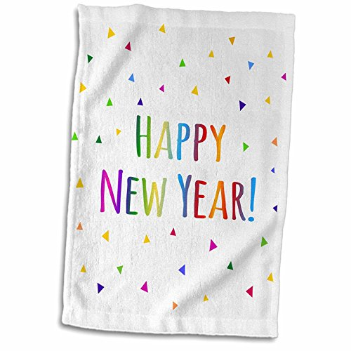 3D Rose Happy New Year Colorful Rainbow Text and Multicolor Confetti Triangles TWL_202093_1 Towel, 15