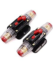 80A Audio Inline Circuit Breaker Reset Fuse PowMr Reset Fuse Holder 80 amp with Manual Reset for 12V-24V DC Car Audio, Stereo Switch and Solar Inverter System (2 Pack)