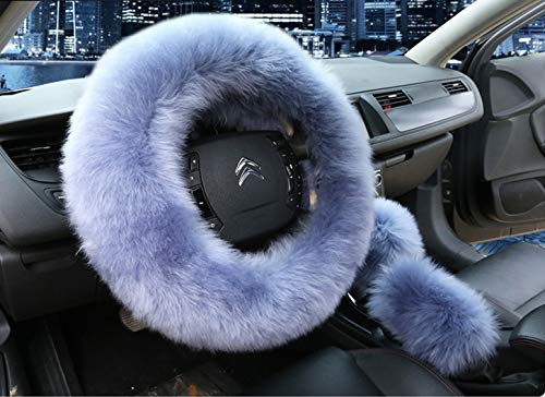 Universal 3 in 1 Furry Steering Wheel Cover Wool Fur HandBrake Cover Fit Most Car ()