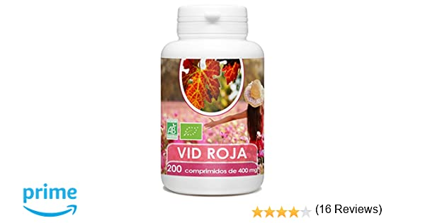 Vid Roja Organica - 200 tabletas de 400 mg